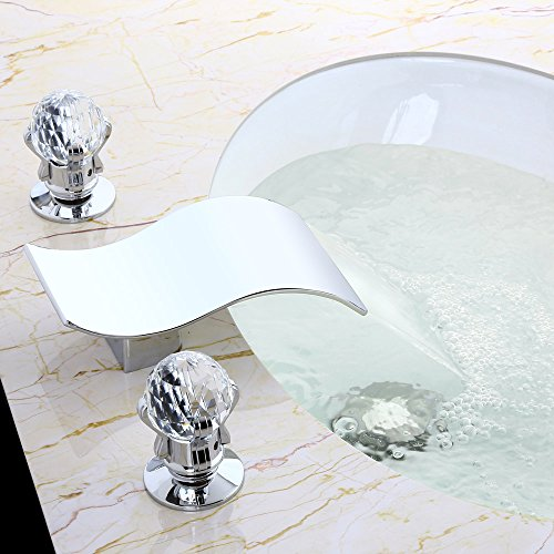 KunMai Widespread Waterfall 2 Crystal Handles 3-Hole Bathroom Sink Faucet Polished Chrome by KunMai