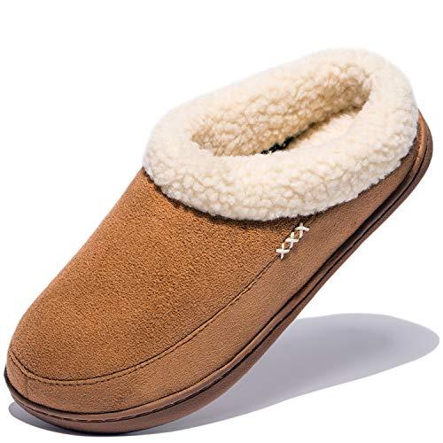 NDB Women's Cozy Memory Foam Fuzzy Wool-Like Plush Fleece Lined Slip on Indoor Outdoor House Slippers (10-11 B(M) US, Brown)