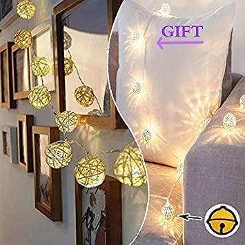 Battery Operated Cream White Color Rattan 2m Led Patio Fairy String Lights  Christmas, Wedding And