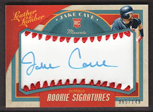 2019 Panini Leather & Lumber Baseball #105 Jake Cave RC Rookie Red Stitch Sig AUTO 065/149