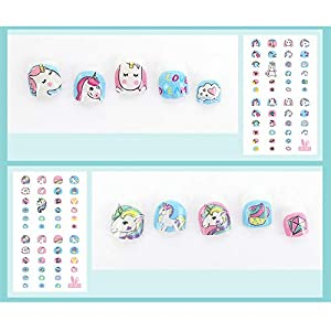 Elesa Miracle Kids Unicorn Nail Stickers for Little Girl Nirl Art Decals Unicorn Party Favor Pretend Play Princess Jewelry 480 Nails