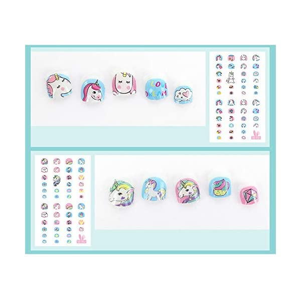 Elesa Miracle Kids Unicorn Nail Stickers for Little Girl Nirl Art Decals Unicorn Party Favor Pretend Play Princess Jewelry 480 Nails 4