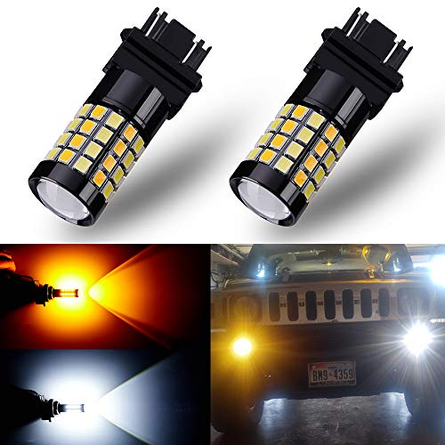ANTLINE Newest 3157 3057 4057 4157 3155 LED Bulb Switchback (2 Pack), Super Bright 52-SMD LED with Projector for Replacement, Daytime Running Lights/DRL for White, Turn Signal Lights for Amber
