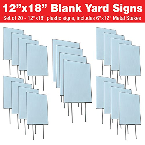 Visibility Signage Experts Blank Yard Signs 12x18 with 6x12 H-Stakes for Garage Sale Signs, for Rent, Open House, Estate Sale, Now Hiring, or Political Lawn Sign (20)]()