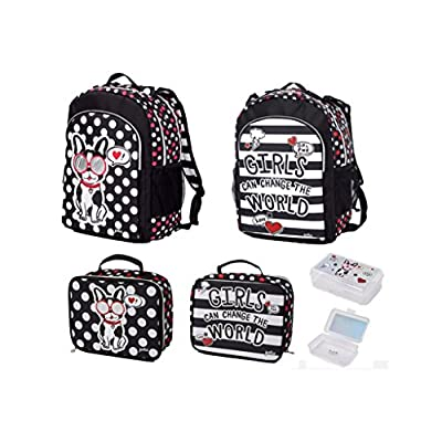 932059f3f7e2 Justice Girls Pawsitivity Backpack Bookbag + Lunchbox + Pencil Box Bundle  Set delicate