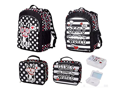 Justice Girls Pawsitivity Backpack Bookbag + Lunchbox + Pencil Box Bundle -
