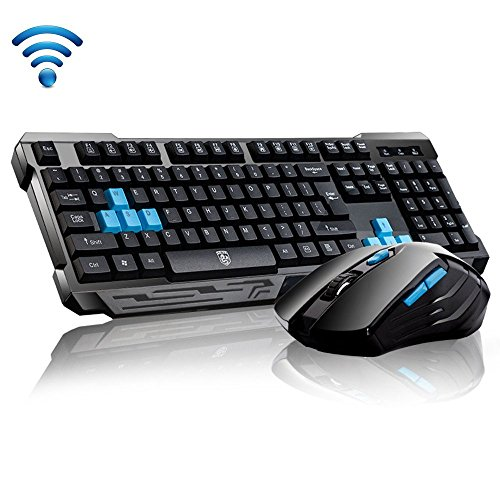 Keyboard Mouse Combos,Soke-Six Waterproof Multimedia 2.4GHz Wireless Gaming Keyboard with USB Cordless Ergonomic Mouse DPI Control For Desktop PC Laptop(Black) (Frequency Mouse Wireless Optical Mini)