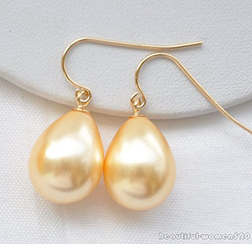 Yellow X0353 16mm drip south sea shell pearl dangle earring (Rings South Pearl Sea Mabe)