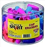 School Smart 089941 Chisel Shaped Latex-Free Pencil Cap Eraser44; Assorted44; Pack - 100