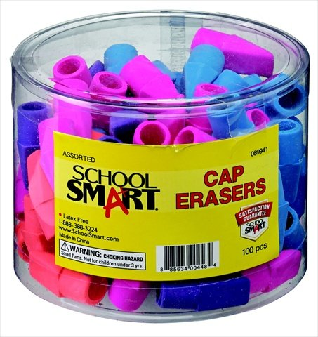 School Smart 089941 Chisel Shaped Latex-Free Pencil Cap Eraser44; Assorted44; Pack - 100 by School Smart