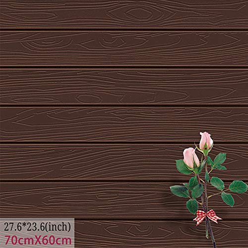 - Waterproof Wood Wall Panels Self-Adhesive 3D Wall Paper Eco-Friendly XPE Foam Stick Tile Wall 23.6X27.6 inch (1, Coffee)