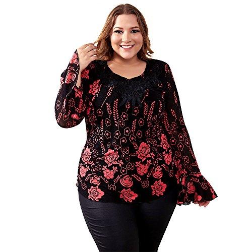 Top Applique (Yitonglian Womens Applique Crochet V Neck Long Sleeve Vintage Floral Loose Tunic Tops Shirt)