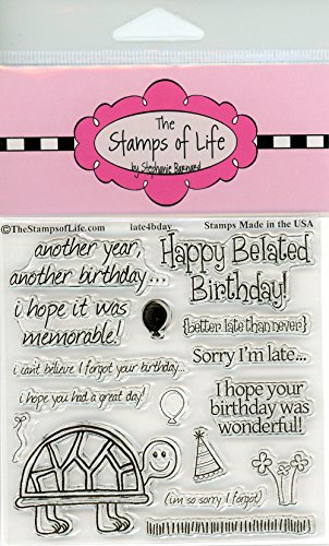 The Stamps of Life Late4Bday Clear Stamps for Card Making and Scrapbooking (4x4 inch sheet) by Stephanie Barnard - Belated Happy Birthday Sentiments