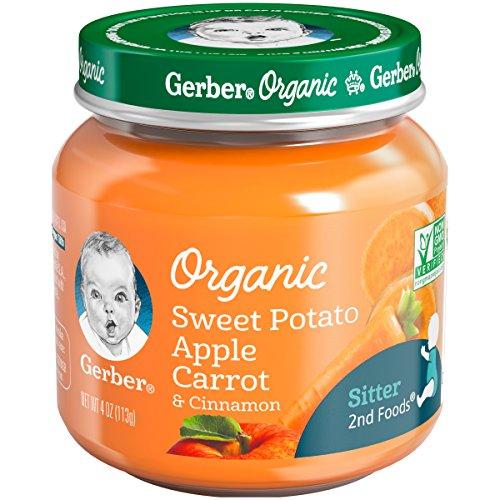 Gerber Purees Organic 2nd Foods Sweet Potato Apple Carrot with Cinnamon Baby Food Glass Jar, 4 oz