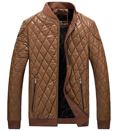 Zip Front Leather Coat - 4