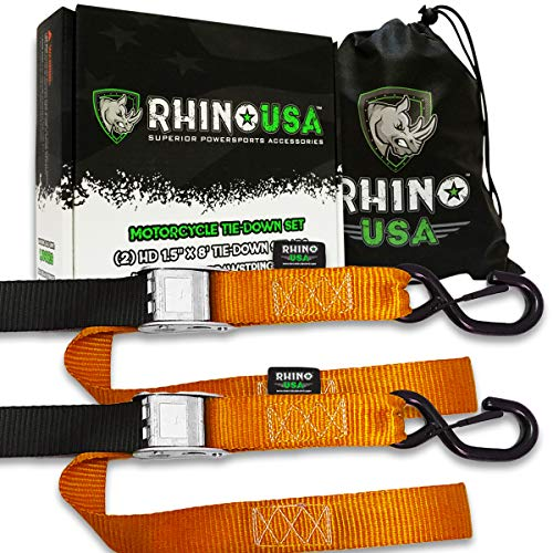 (RHINO USA Motorcycle Tie Down Straps (2 Pack) Lab Tested 3,328lb Break Strength, Steel Cambuckle Tiedown Set with Integrated Soft Loops - Better Than a Ratchet Strap…)