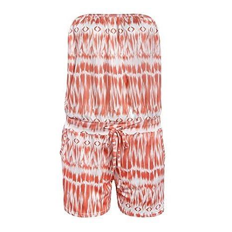 ARTSHOWING Womens Strapless Off Shoulder Printed Beachwear Short Rompers Jumpsuits JRQ115-1688-1