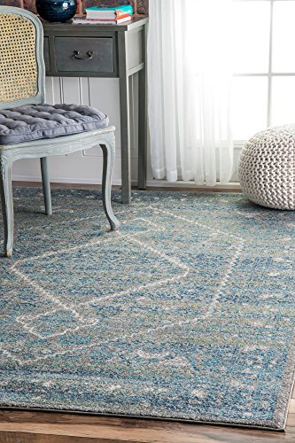 nuLOOM Traditional Vintage Bridget Diamond Medallion Area Rugs, 4' x 6', Blue by nuLOOM