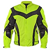 Xelement CF-6019-66 'Invasion' Men's Neon Green Mesh Armored Motorcycle Jacket - Medium