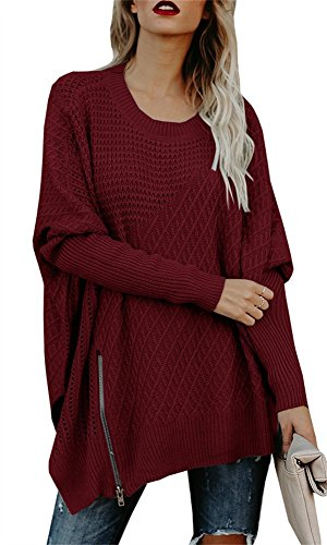 Chuanqi Womens Sweaters Oversized Batwing Pullover Sweater Loose Off The Shoulder Knit Jumper by Chuanqi