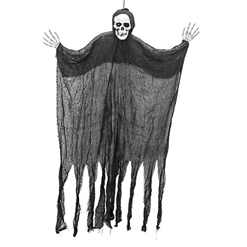 Halloween Haunters 4 Foot Hanging Black Skeleton Ghost Reaper Prop Decoration - 1/3 Life-Size Scale Scary White Skull Ghoul Face - Haunted House Graveyard Entryway Display]()
