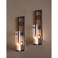 Candle Wall Sconce Set of 2 Metal Iron Glass Home Decoru2026