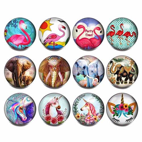 Charm Elephant Glass (soleebee 12pcs Mixed Aluminum Glass 18mm Snap Buttons Jewelry Charms, Flamingo Elephant Unicorn (Set C))
