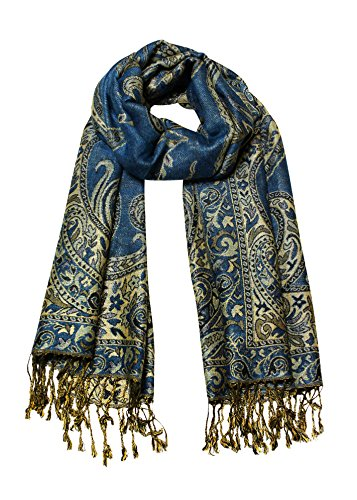 Paisley Jacquard Scarf Women's Fashion Shawl Long Soft Accent Wrap In Blue/Gold ()