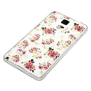 deinPhone Samsung Galaxy Note 4 arreglos florales de silicona blanco