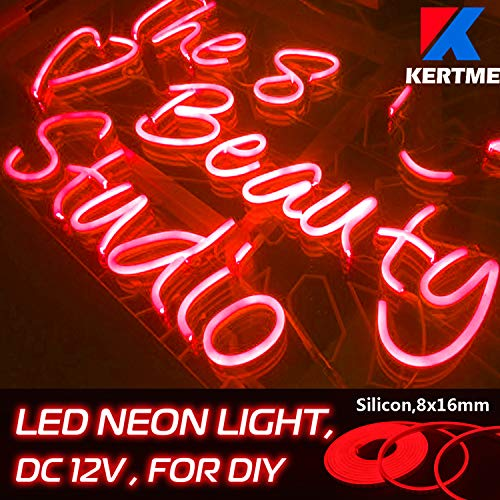 - KERTME DC12V Silicon Neon Led Light Strip, Safety, Super-Bright, Flexible & Waterproof Rope Light for Advertising Signboard, Brand Logo, Home Shop DIY Design Decor (8x16mm, 16.4ft/5m, Red)