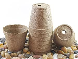 Pack of 24 Biodegradable Seed Starting Pots, Round 3 inch Shape, All Natural Seed Starter Peat Pot Planters