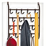 Lynk Over Door or Wall Mount Scarf Holder - Belt, Hat, Jewelry, Accessory Hanger - 16 Hook Organizer Rack - Bronze