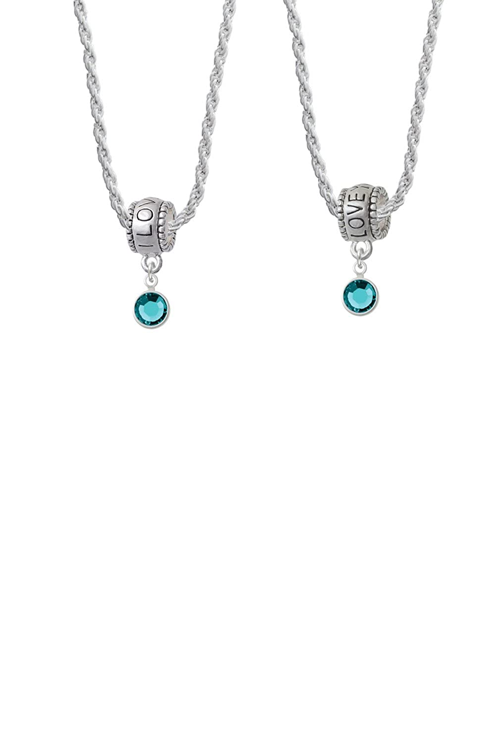 Delight Jewelry Crystal Channel Drop I Love You More Bead Necklace Set of 2