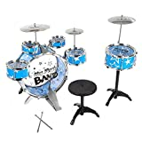 EISHOW Kids Drums Kit Musical Instrument Play Set Toy with Cymbals Stool Children Girls Boys Christmas Birthday Gift (Blue)