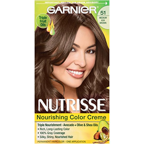 Garnier Nutrisse Nourishing Color Creme 51 Medium Ash Brown (Cool Tea), (Packaging May Vary)