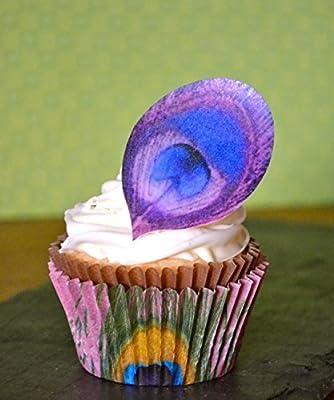 Edible plumas de pavo real – Magenta – Juego de 12 – Decoración de Tartas, Cupcakes Decoración Por Azúcar Robot Inc.: Amazon.es: Hogar