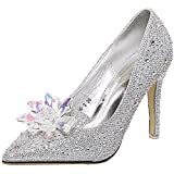 Donalworld Women Strap Butterfly Wings Pump High Heel Open Toe Princess Ankle Sandals Silver Asia Size 40