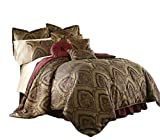 Chezmoi Collection Seville-Burgundy-Com-Queen 9-Piece Jacquard Black Gold Maroon Red Medallion Paisley Oversized Comforter Set 92'x96'