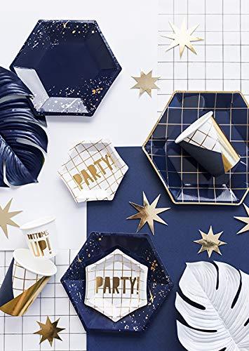 Party Deco Assiette Carton Mouchet/é Bleu Navy et Or x6