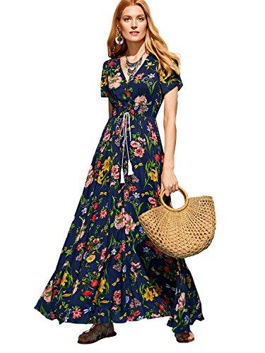 Milumia Women's Button Up Split Floral Print Flowy Party Maxi Dress Blue-2 X-Large (Bohemian Sundress Dress)