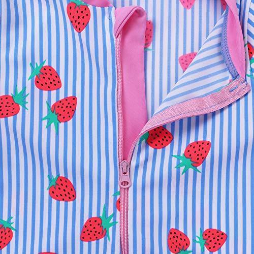 TFJH E Kids Girls Rashguard Swimsuit UV 50 Long Sleeve One Piece Swimwear 4-11Y