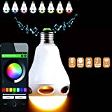 InnoLife - 2 in 1 Bluetooth App Control Music Playing Audio 3W Speaker + LED Color Bulb Light - Dimmable Multicolored Color Changing LED Lights for Home, Office, Parties, Dinners - US 110 Volts E27 Base (40 Watt Replacement)