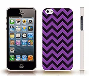 iStar Cases? iPhone 4 Case with Chevron Pattern Purple/ Midnight Blue Stripe , Snap-on Cover, Hard Carrying Case (White)
