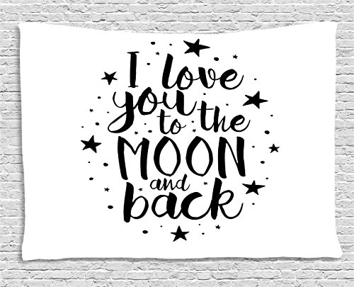 Ambesonne I Love You Tapestry, Romantic I Love You to The Moon and Back Motivational Lifestyle Quote Print, Wall Hanging for Bedroom Living Room Dorm, 60 W X 40 L Inches, Black White by Ambesonne