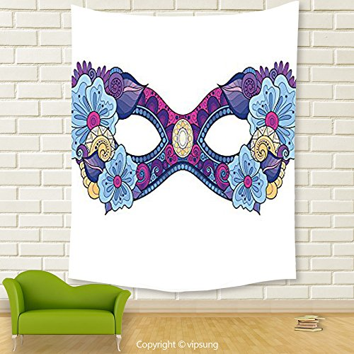Vipsung House Decor Tapestry_Masquerade Decorations Collection Colored Carnival Mask With Decorative Flowers Masked Ball Celebration Art Navy Blue Magenta White_Wall Hanging For Bedroom Living Room