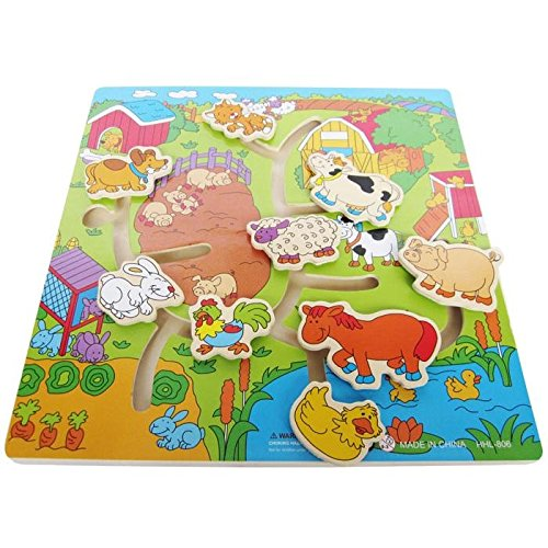 Farm Animals Looking Home,SlideTrack Maze,Baby Developmental Wooden Toys