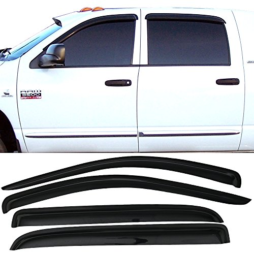 Window Visor fits 2006-2009 Dodge Ram Mega Cab | Slim Style A Grade Acrylic Unpainted Black Sun Rain Shade Guard Wind Vent Air Deflector by IKON MOTORSPORTS | 2007 2008 (2006 Ram Cab Dodge Mega)