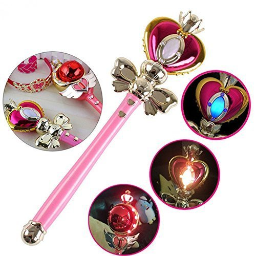 MyToy Anime Cosplay Sailor Moon 20th Tsukino Usagi Wand Henshin Rod Glow Stick Spiral Heart Moon Rod Musical Light Magic Wand Girl Toy
