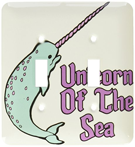 3dRose lsp_116362_2 Funny Cute Narwhal Unicorn of The Sea Fantasy Animal Design Double Toggle Switch by 3dRose