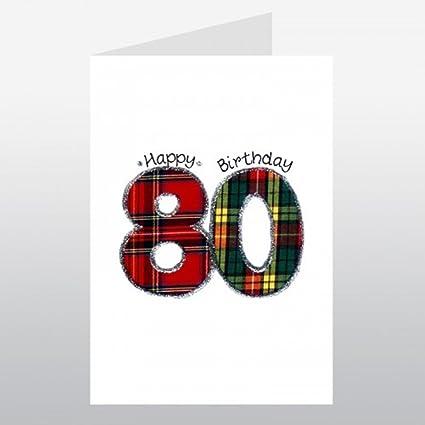Originales bordadas Wee deseos 80th cumpleaños tarjeta ...